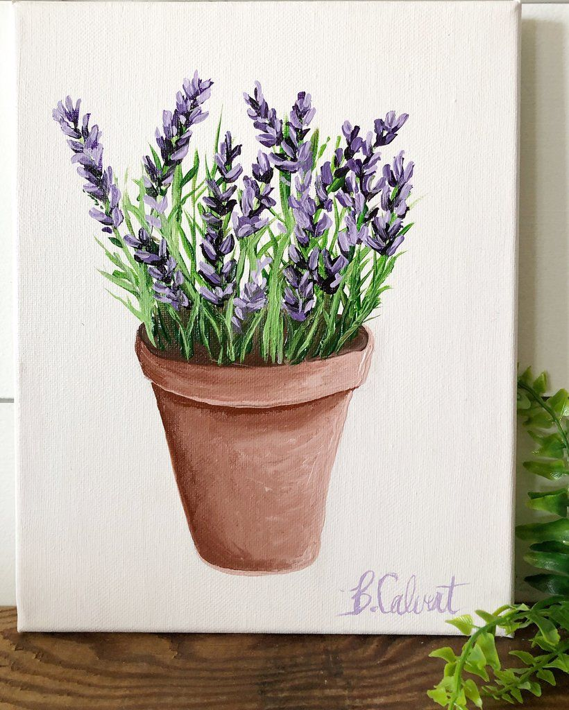 Lavender In A Terra Cotta Pot 8x10 Original Painting Free Shipping Within U S Flower Painting Lavender Paint Canvas Painting Diy