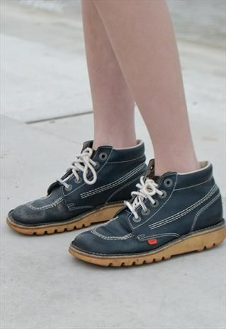 Vintage 90's Blue Old Skool Kicker Kick Hi Boots | Fashion