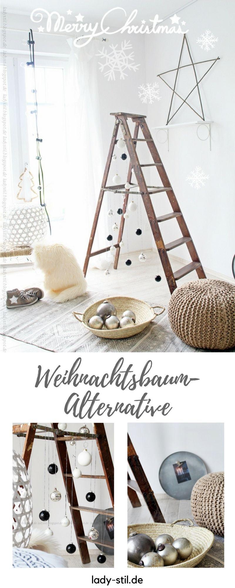 diy leiter weihnachtsbaum lady stil blog gem tliche. Black Bedroom Furniture Sets. Home Design Ideas