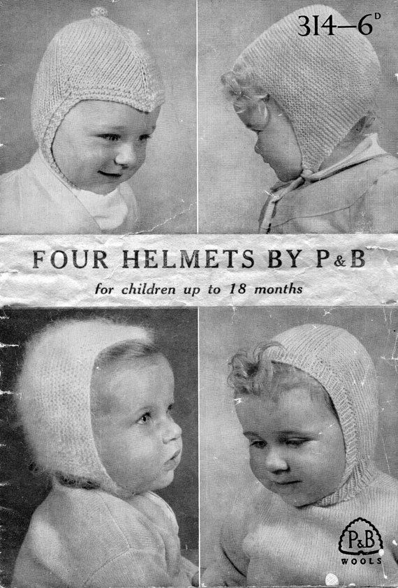 1940s Vintage Babies Helmets Hats Knitting Pattern By Hobohooks