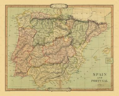 Map of Spain, 1826