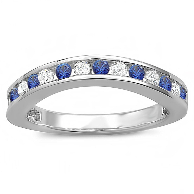 10K Gold Round White Diamond And Blue Sapphire Ladies