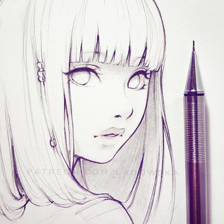 Dessin manga fille visage cheveux lanc s regard du cot ladowska drawing and manga - Dessin manga image ...