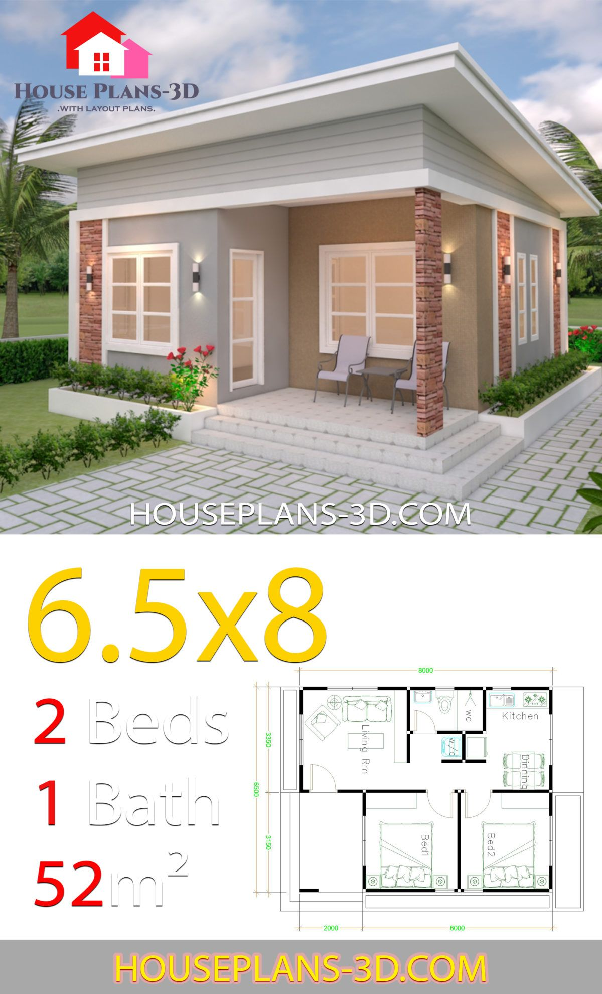 House Design Plans 6 5x8 With 2 Bedrooms Shed Roof House Plans 3d Small House Design Plans Small House Design Small House Design Exterior
