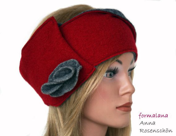 Headband red gray bicolor wool flower to fold adjustable | Ellen ...