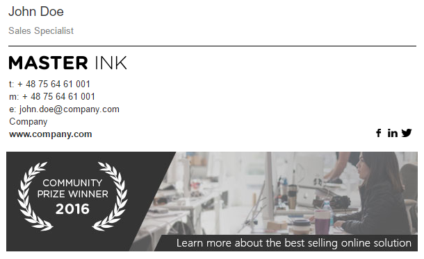 A Signature With The Banner Showing Company Awards Best Email Signatures Email Signature Design Email Signatures