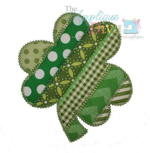 Spring St Patricks Day Shabby Patchwork Clover Shamrock Digital