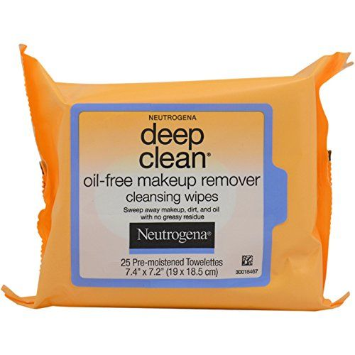 Neutrogena Deep Clean Oil-Free Makeup Remover Cleansing Wipes for Unisex, 25 Count
