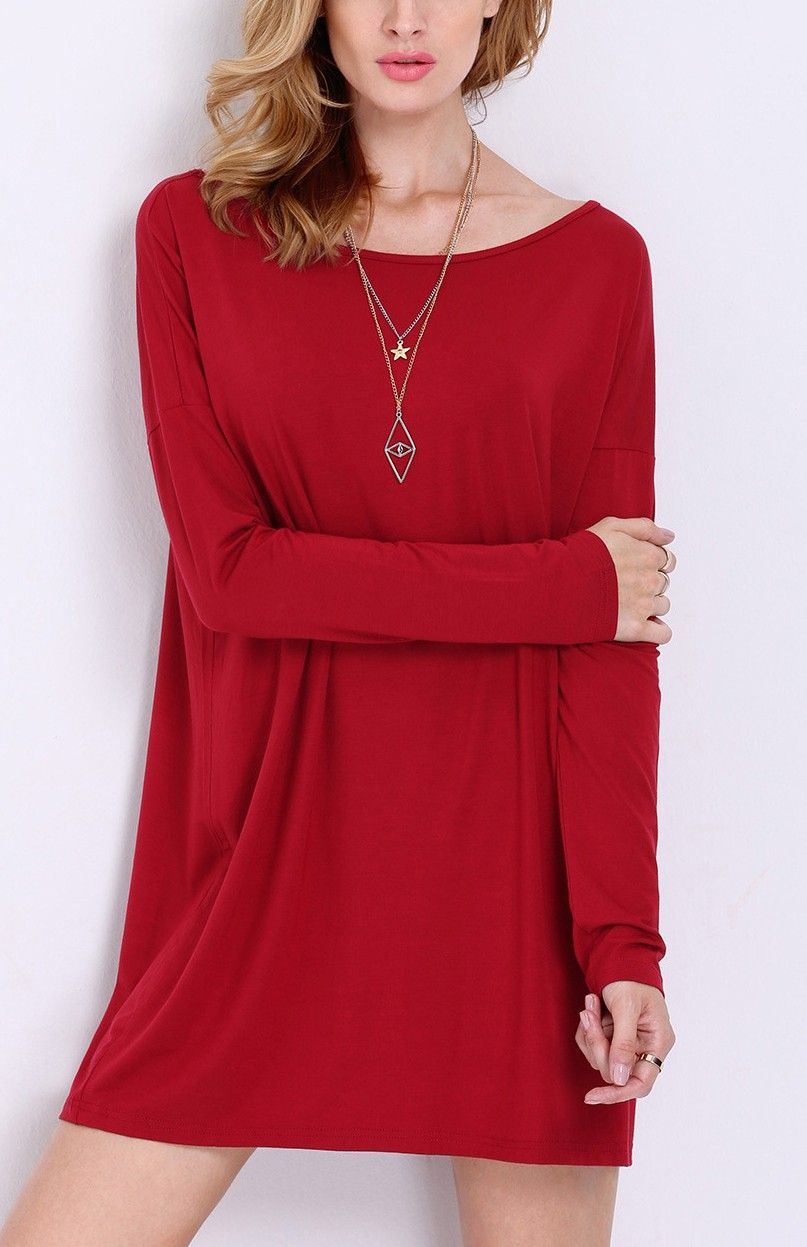 Wine red rouge long sleeve casual dress clothes pinterest red