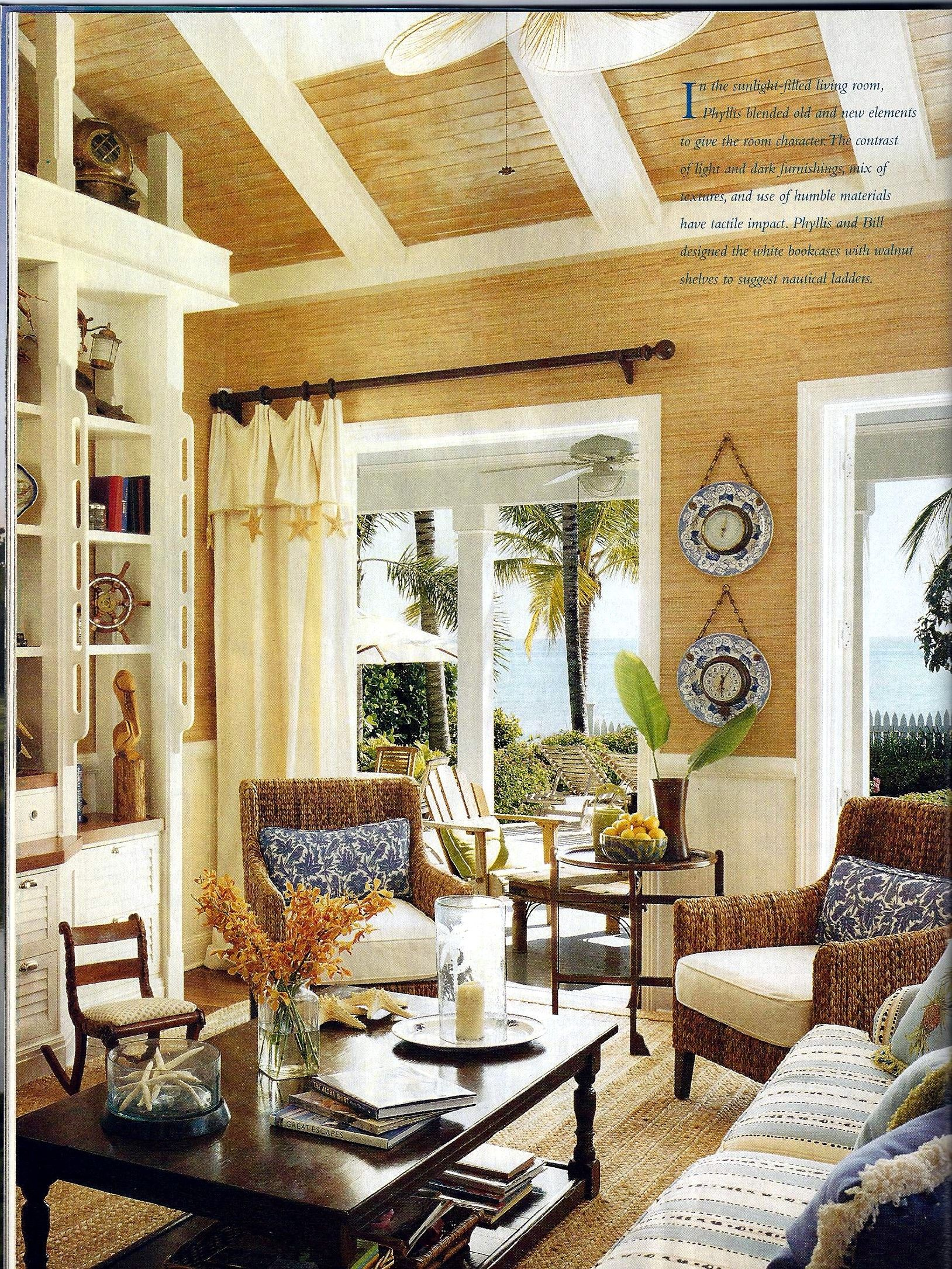 Nice coastal living room in blues neutrals and brown for Palm tree living room ideas