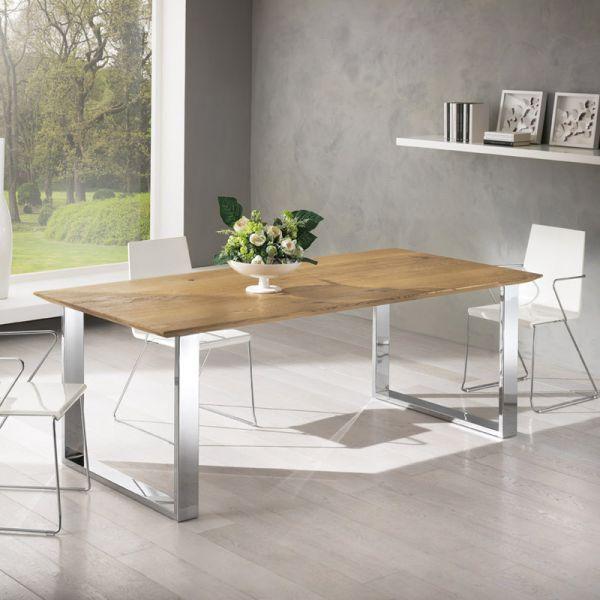 Table contemporaine en ch ne pieds chrom s univers for Table en bois contemporaine