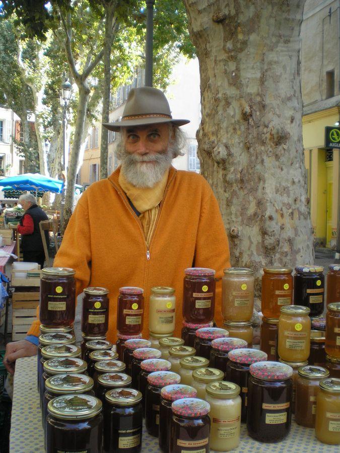Honey Vendor, outdoor market, Arles, France Travel/Adventure