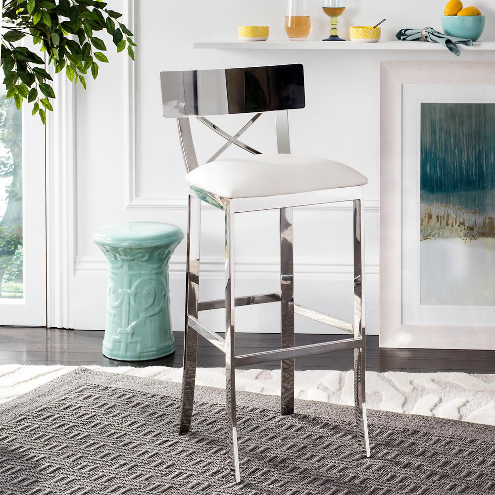 Safavieh Zoey 30 5 In Stainless Steel Cross Back Bar Stool In Black Fox2034a The Home Depot Steel Bar Stools Bar Stool Furniture Stainless Steel Bar Stools