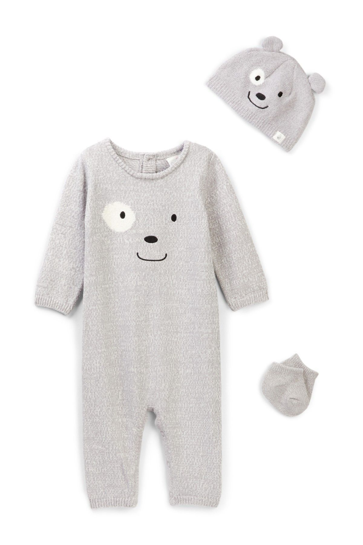 Bear Coverall Hat & Sock Set Baby Boys