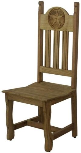 Rustic Dining Chair With Carved Texas Star Rustic Dining Chairs