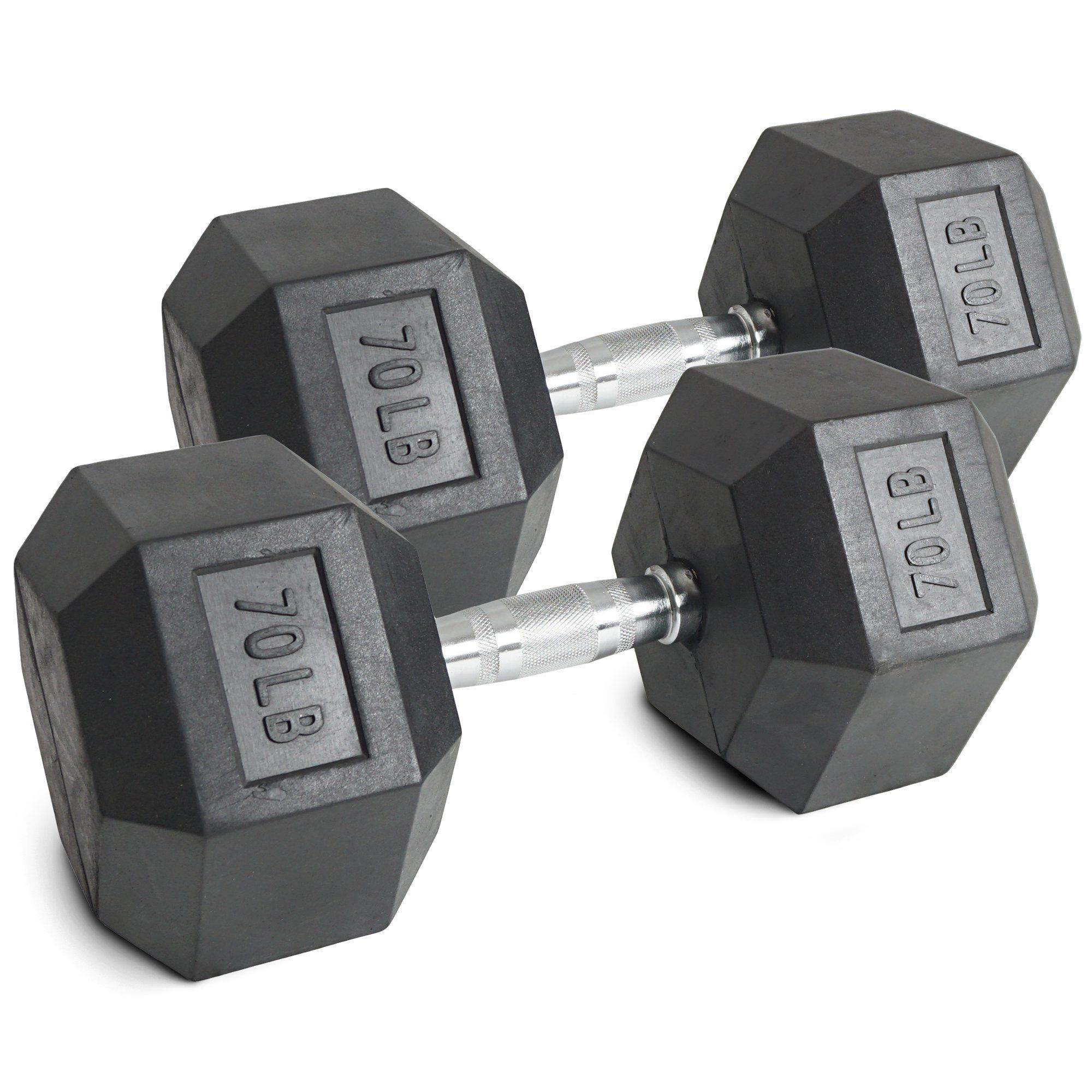 Pair 70 lb Black Rubber Coated Hex Dumbbells Weight Training Set 140 lb  Fitness. - Includes 2 rubber coated dumbbells - No assembly required.