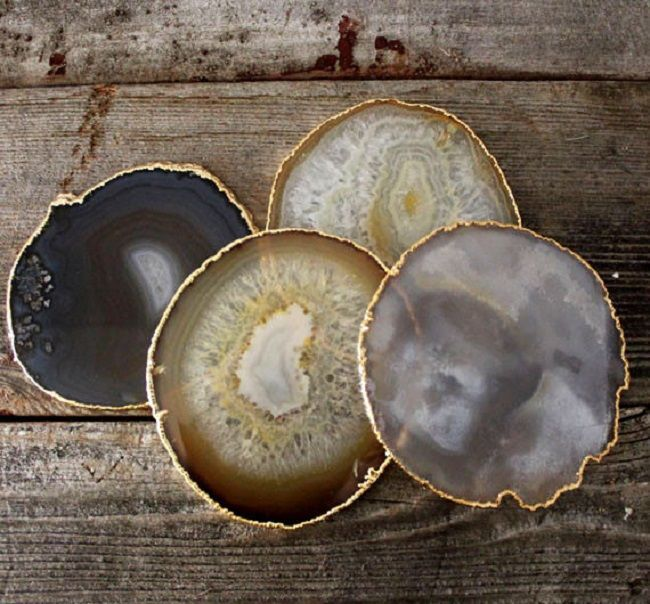 DIY Gold Leafed Agate Coasters