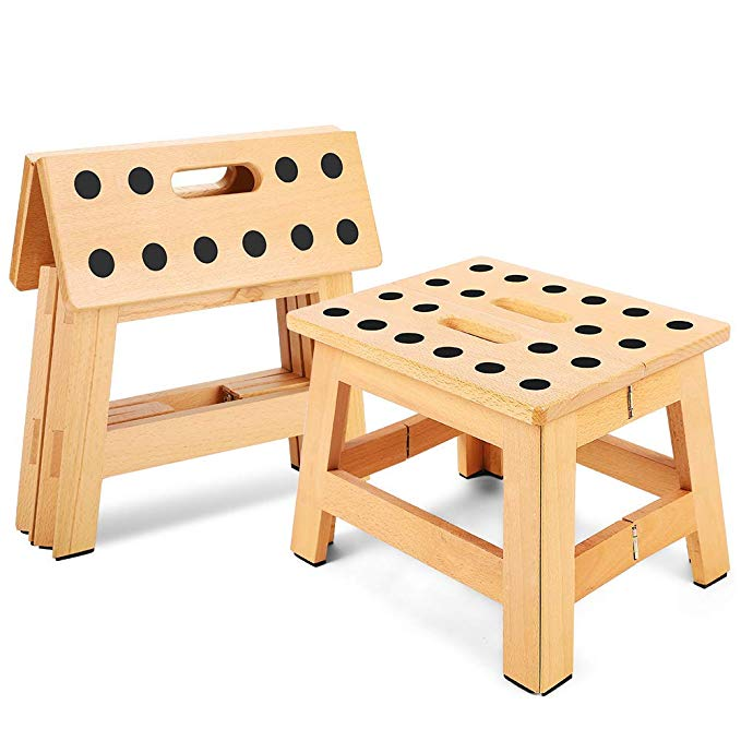 Amazon Com Jiodux Folding Step Stool 8 8 Height Foldable Wooden Stool For Adults Kids Step Stools Kitchen In 2020 Wooden Stools Step Stool Folding Step Stool