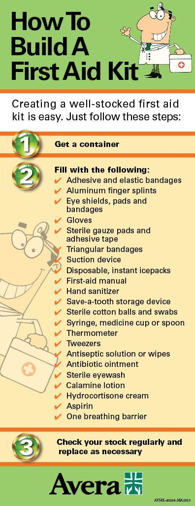 Be prepared! Follow this list to create a first-aid kit #Avera - creating checklist