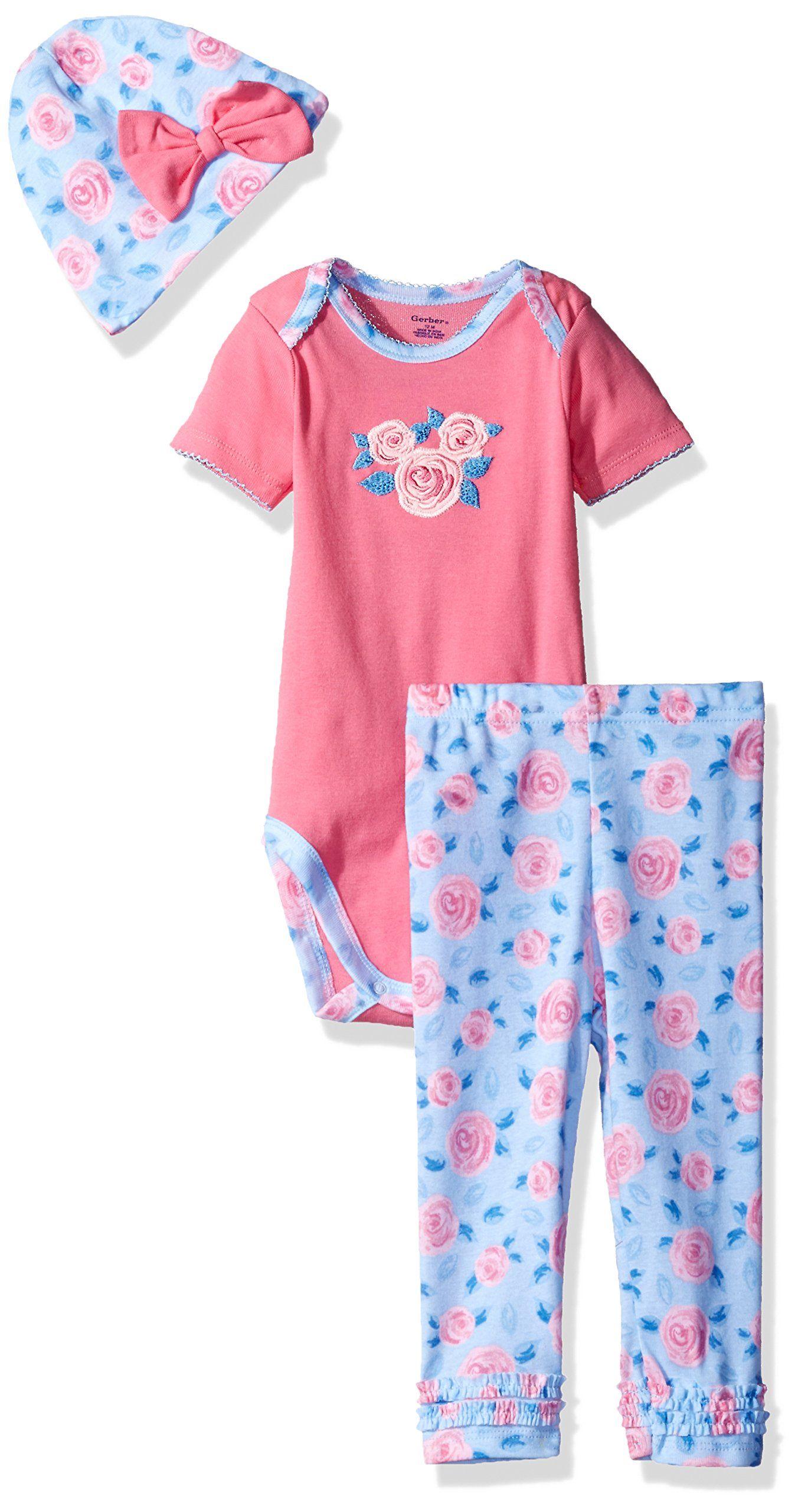 Gerber Baby Girls 3-Piece Bodysuit Legging and Cap Set