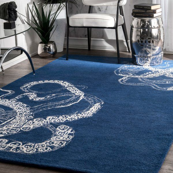 Bring Undersea Inspiration To Your Living Room Or Den With This Lovely Wool And Art Viscose Rug Showcasing A Distinctive Octopus Rug Wool Area Rugs Area Rugs