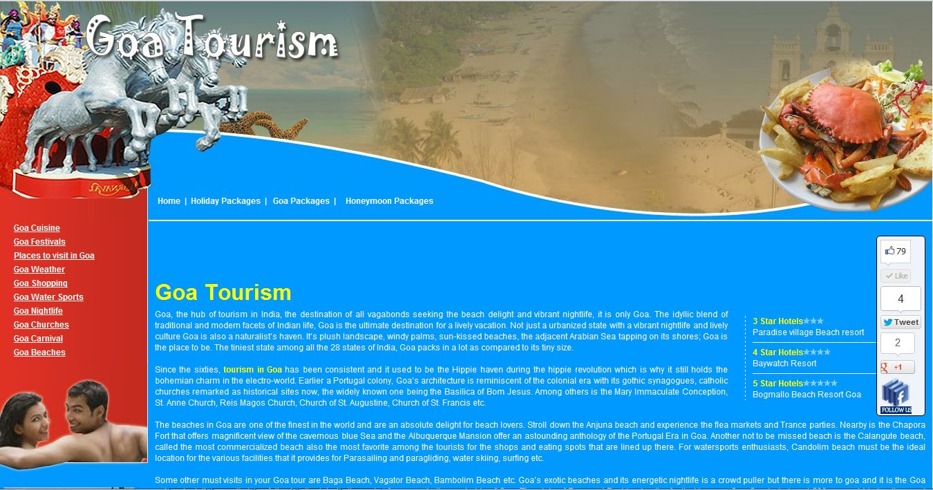Goa Tourism Information Tourism, Holiday packaging