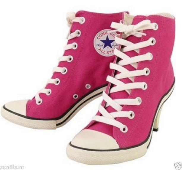 d0b2da4fec0 CONVERSE ALLl STAR HIGH HEELl Shocking US 6-7.5 Sneakers Stiletto Shocking  Pink  Briana Wyatt-Manson