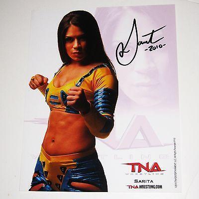 TNA WWE SARITA P-10 HAND SIGNED 8X10 PROMO PHOTO WITH COA