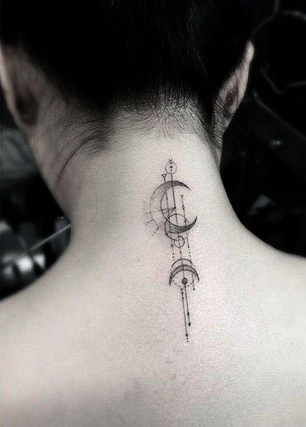 70 Trendy Sun And Moon Tattoo Moon Tattoo Designs Neck Tattoo Geometric Tattoo