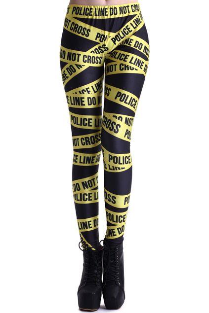 Police Line Print Black Leggings - Romwe