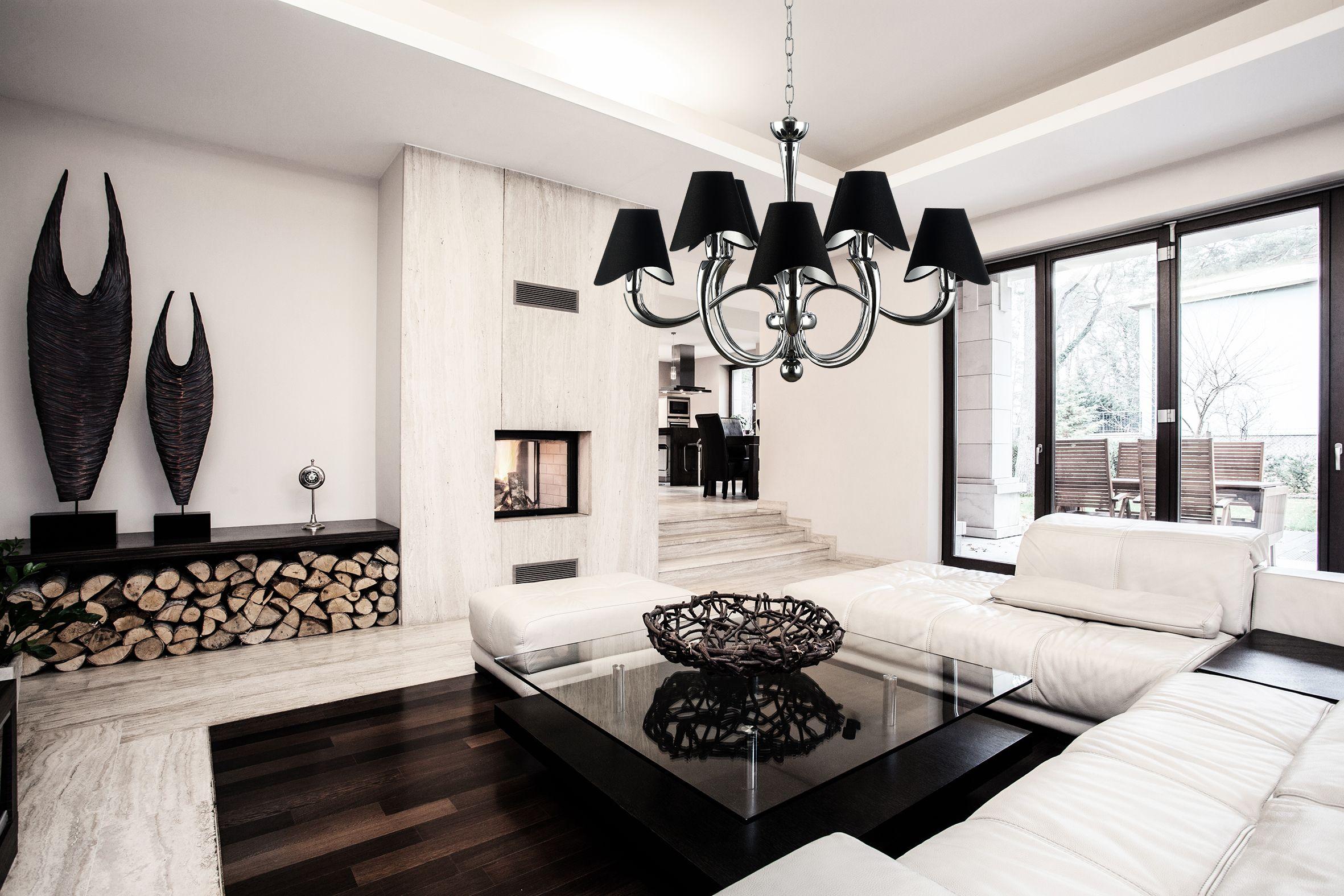 Trend Edler Wohnzimmer Kronleuchter Boscage in Nickel mit schwarzen Lampenschirmen von Maytoni Kaufen im