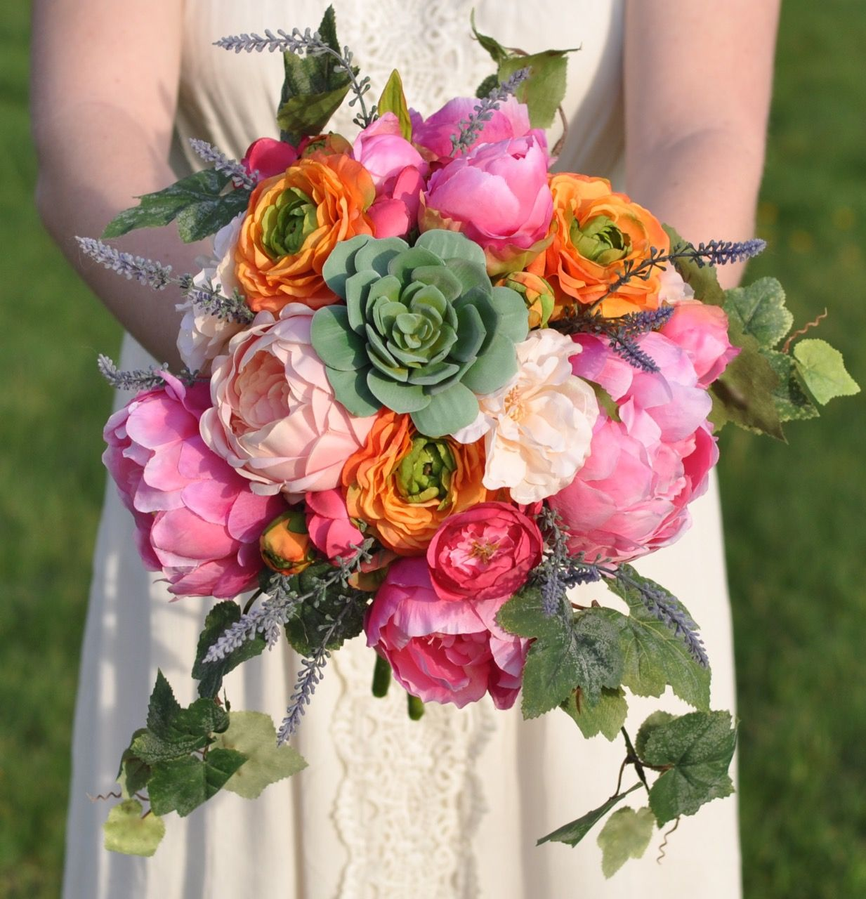 Bright summer silk bouquet with peonies, ranunculus, succulent, and lavender by Holly's Flower Shoppe on Etsy.