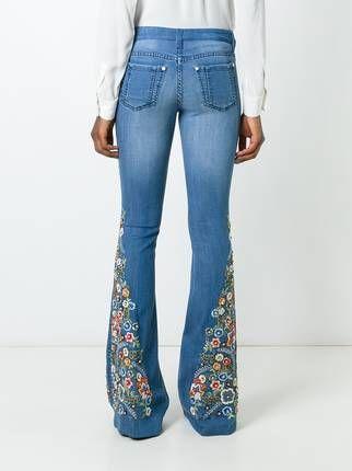 143e5228f663f Alice+Olivia Calça jeans flare com bordado