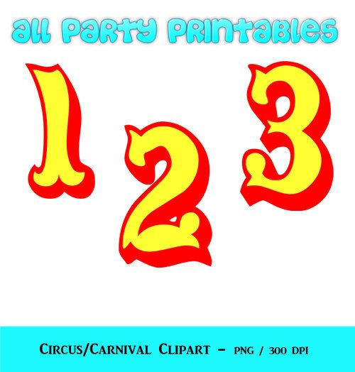Circus Numbers Clipart - Carnival Numbers Clipart - Circus Fonts