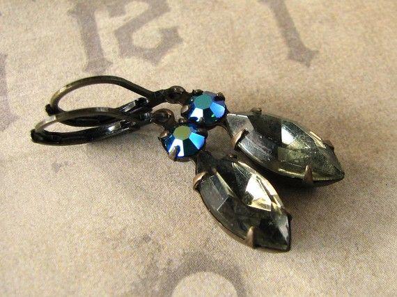 Black Diamond Earrings Vintage Rhinestone Jewelry by adornyou