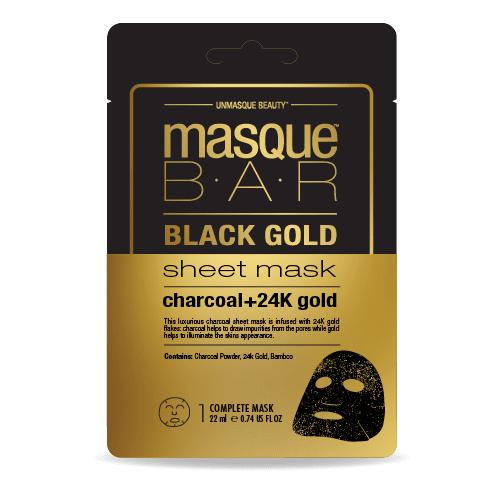 قناع الذهب الاسود الورقي من ماسك بار 22 مل متجر راق Gold Sheets Black Gold 24k Gold