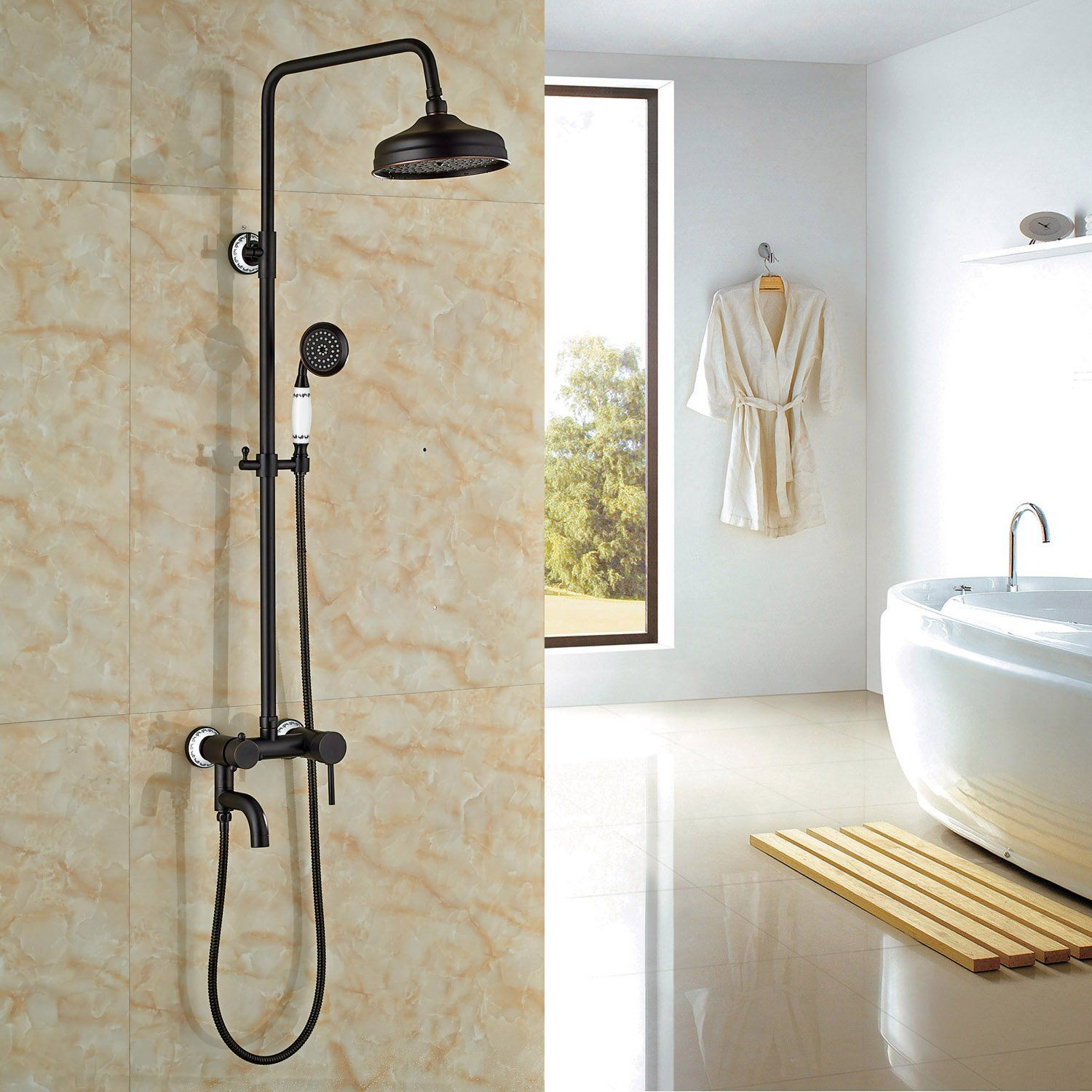 Rozin Oil Rubbed Bronze Bath Tub Shower Faucet Set 8\