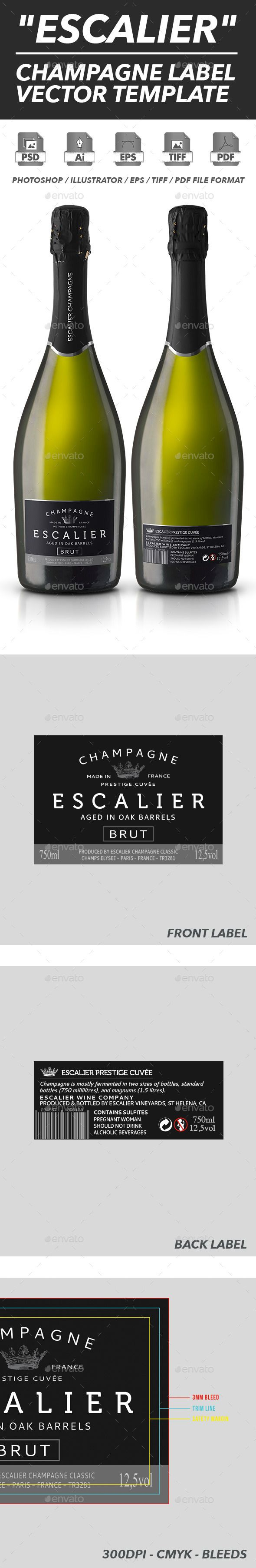 Champagne Label Vector Template  Print Templates Template And