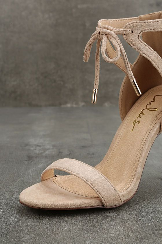 cd759be02bb Feel polished and feminine in the Kate Nude Suede Ankle Strap Heels! Soft  vegan suede shapes a peep toe upper and structured heel cup featuring  cutouts