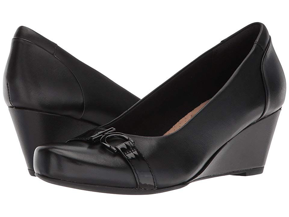 d621b619f4e Clarks Flores Poppy (Black Leather) Women's Wedge Shoes. The Flores Poppy  is part of the Clarks Collection. Dress to impress in the Flores Poppy by  Clarks!