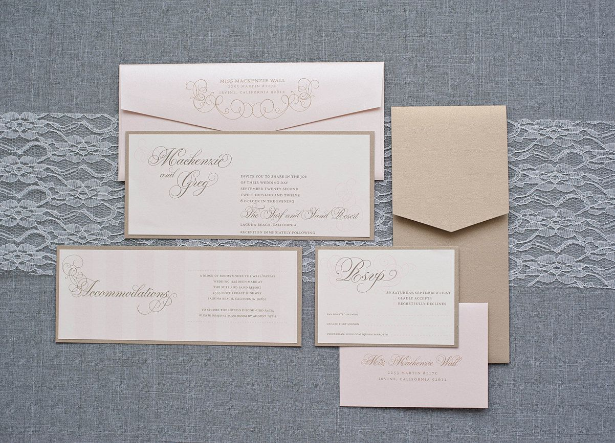 Custom 4Ply Museum board Ivory, gold, champagne wedding invitation ...