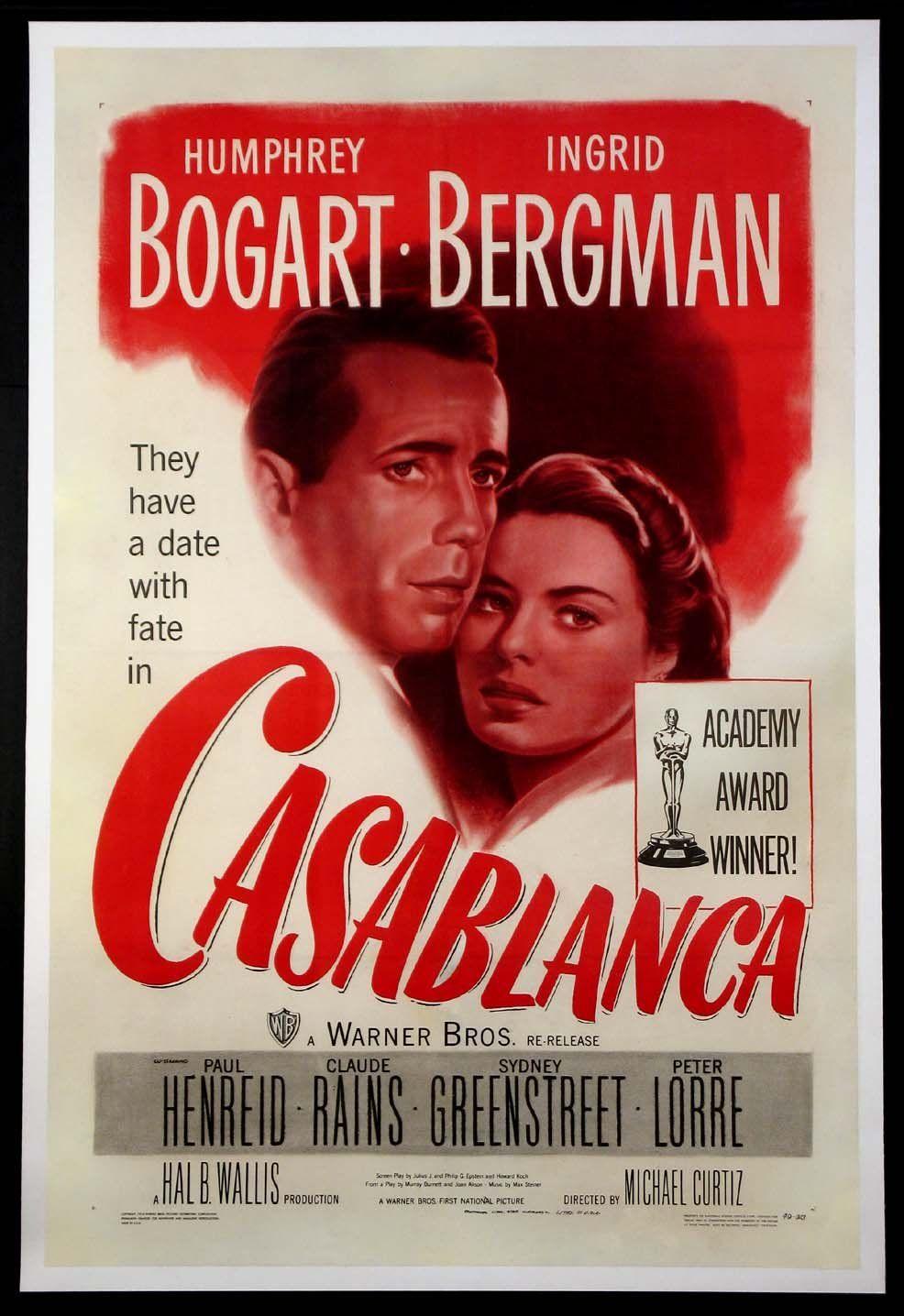 Casablanca humphrey bogart ingrid bergman r1949 vintage
