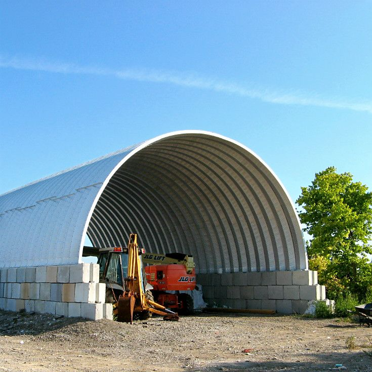 Salt Storage Or Heavy Equipment Storage With A Tall Cover And Bin Block  Sidewalls