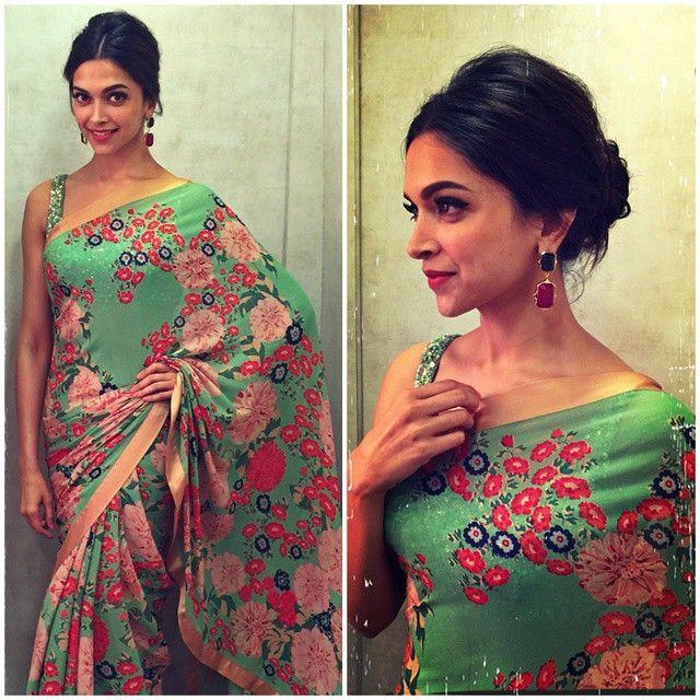 Deepika Padukone in a green, floral-printed Sabyasachi ...