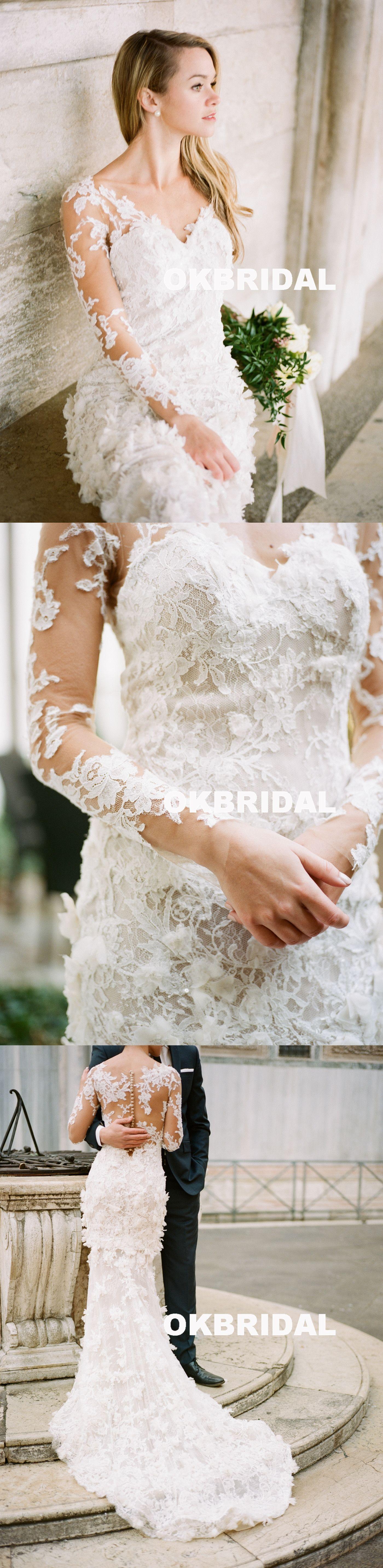 Charming long sleeve wedding dress luxury lace mermaid wedding