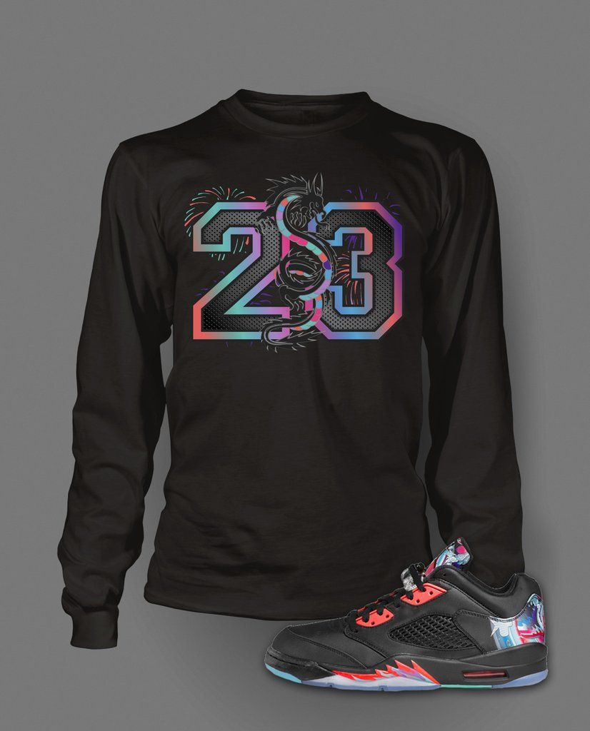 fbcb16b4c24af4 Long Sleeve Graphic T-Shirt To Match Retro Air Jordan 5 Low Chinese New  Year Shoe