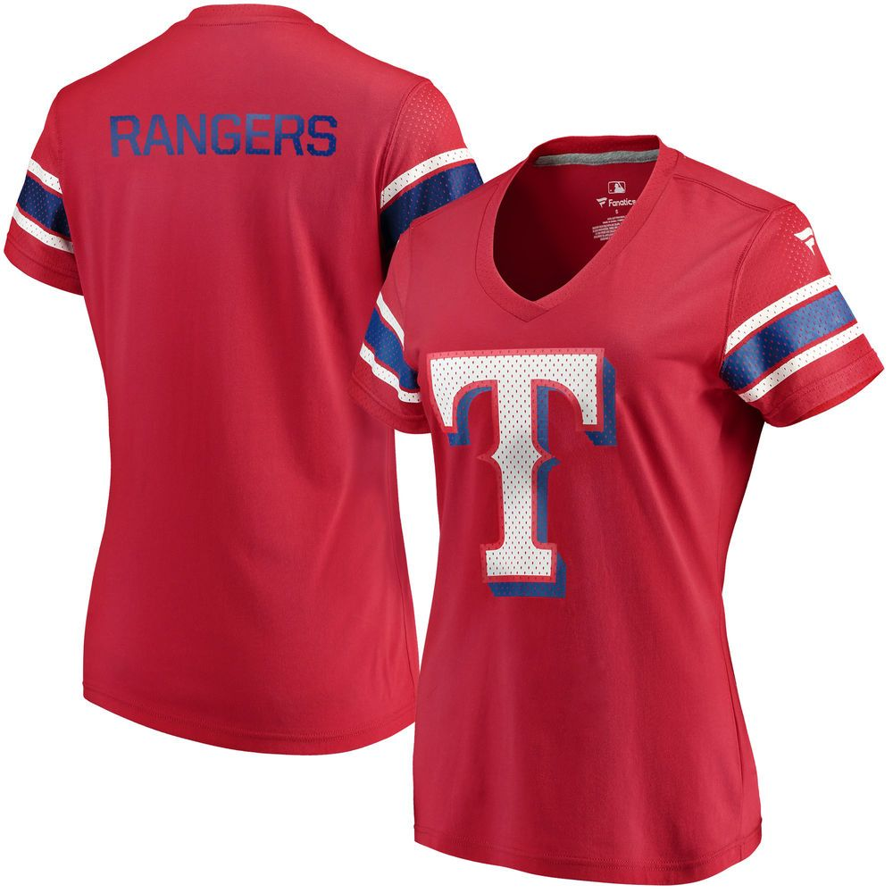 Women S Texas Rangers Fanatics Branded Red Iconic V Neck T Shirt Texas Rangers T Shirts Texas Rangers Outfit Clothes For Women
