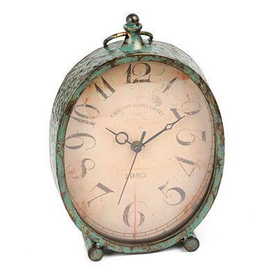 Distressed Turquoise Tabletop Clock // Kirklands.com