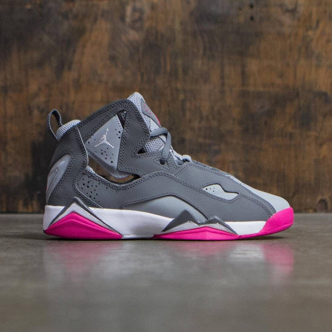 fec87a9c5eed Jordan Big Kids Girls  Jordan True Flight (GS) (cool grey   white-wolf grey-vivid  pink)