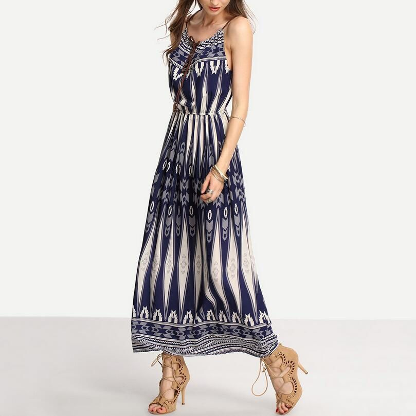 White and Blue Printed Sleeveless Maxi Dress from Breeze. Saved to Maxi Dresses.